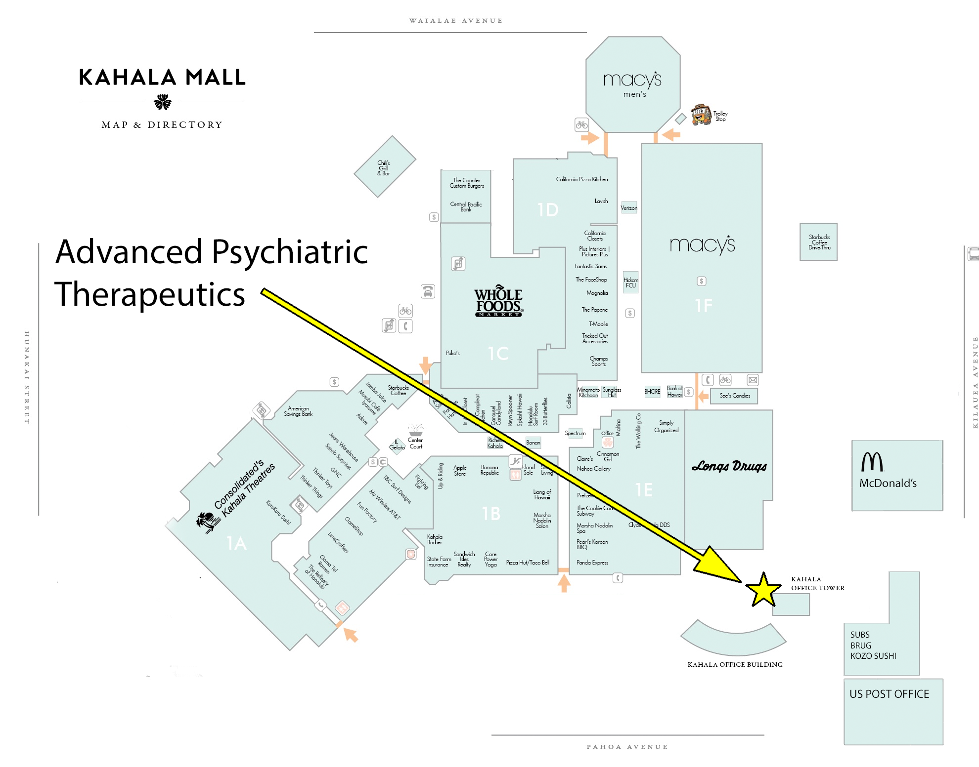 Map of Kahala Mall area showing APT
